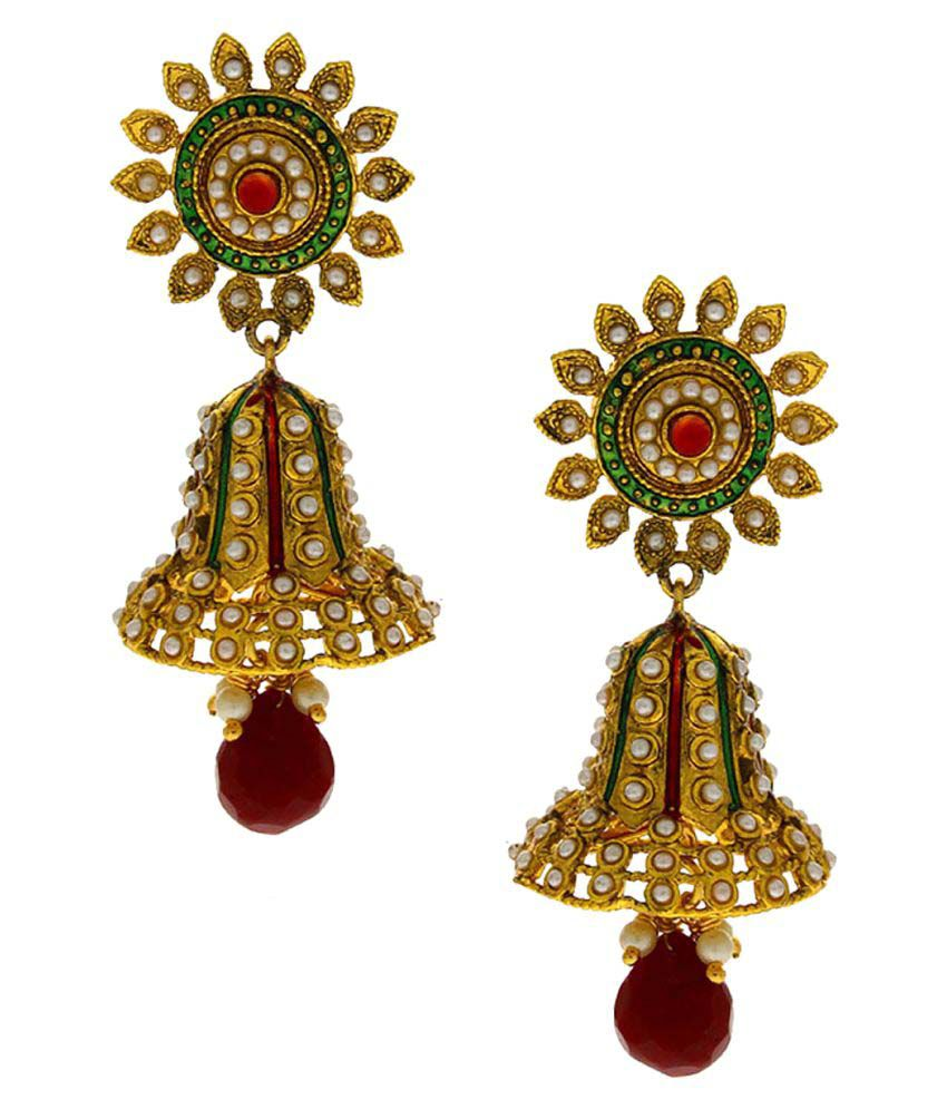 Anuradha Art Golden Alloy Jhumki Earrings