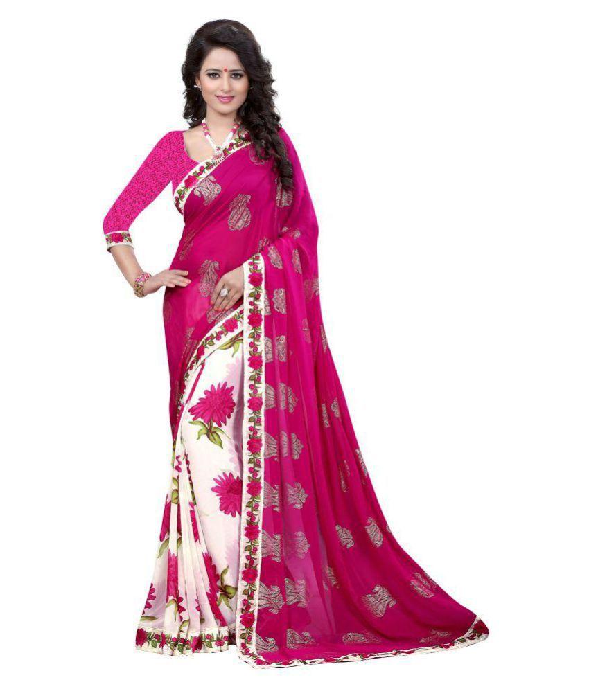 Gazal Fashions Pink Chiffon Saree