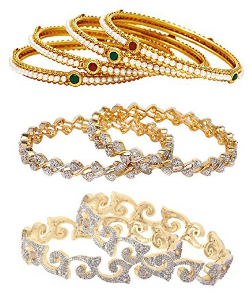 Jewels Galaxy Combo Of Sparkling Broad American Diamond Bangles and Designer Pearls Bangles - Pack Of 8