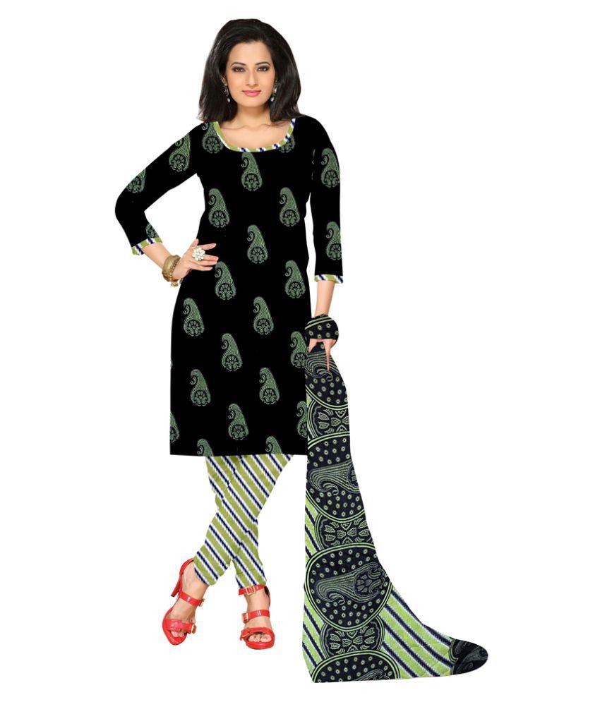 Khoobee Black Crepe Dress Material