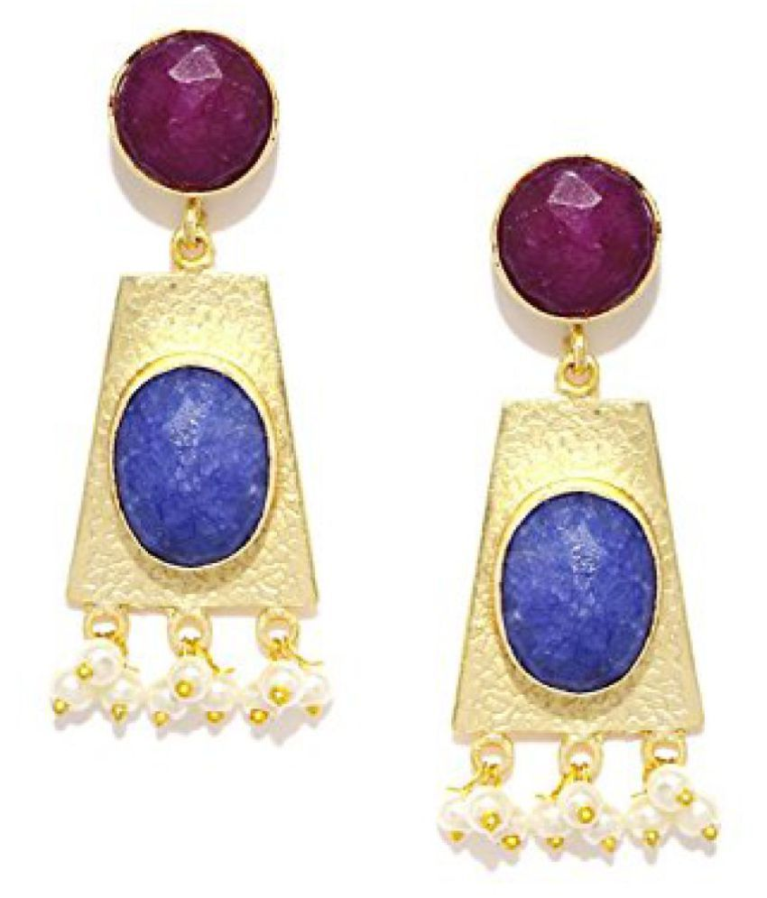 Zaveri Pearls Stunning Gold Earring with Pearl and Druzy Stones in Blue and Pink - ZPFK4944