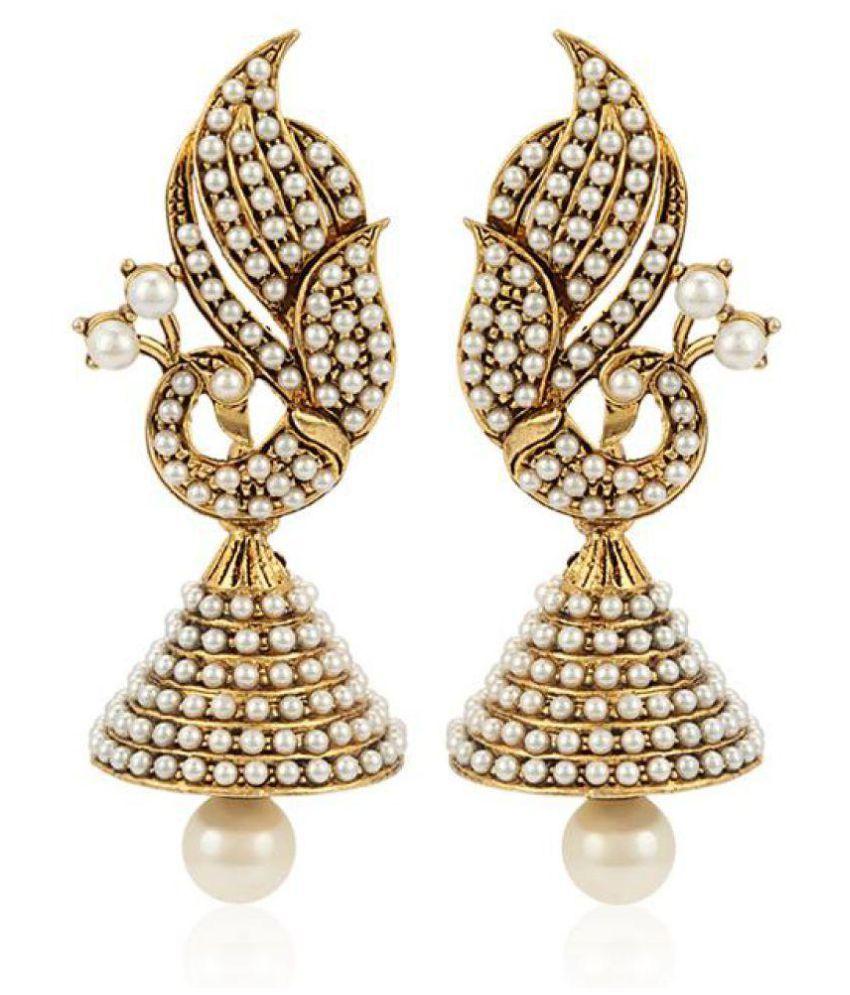 Styylo Fashion Exclusive Golden White Earings Set