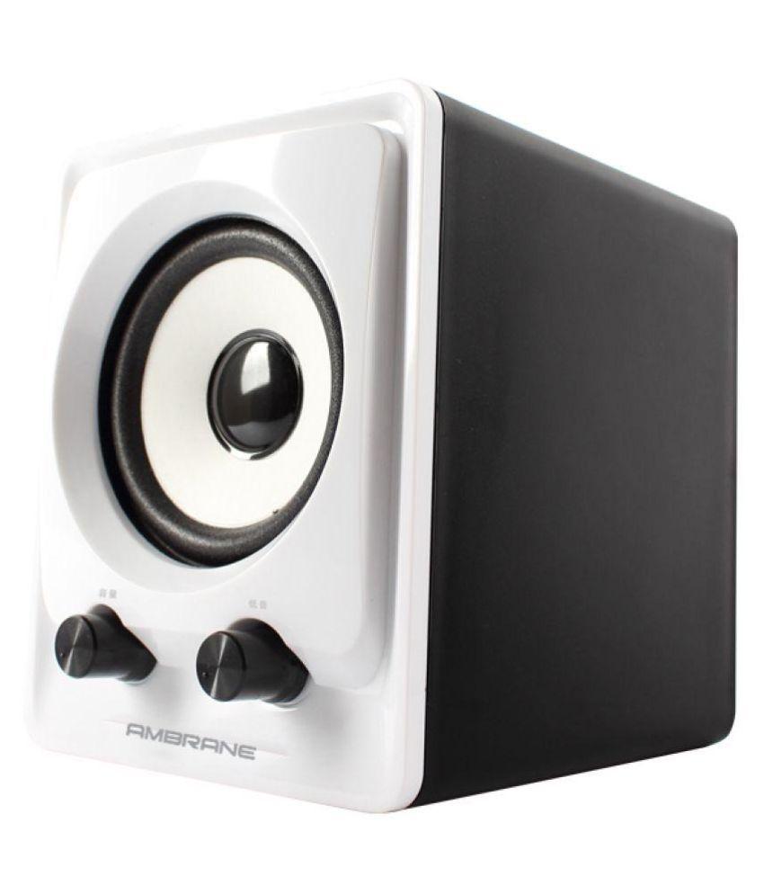 buy ambrane sp 100 2 1 desktop speakers black and white online at rh snapdeal com