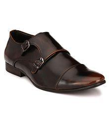El Paso Brown Monk Strap Non-Leather Formal Shoes
