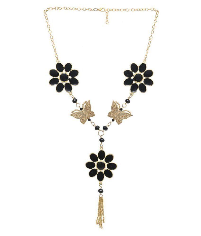 Minhaz Black Flower Butterfly Necklace
