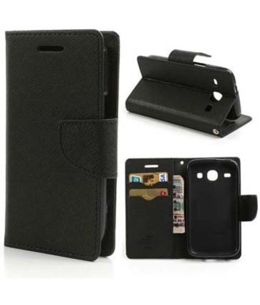 Lenovo A7000 Flip Cover by Cover Wala - Black