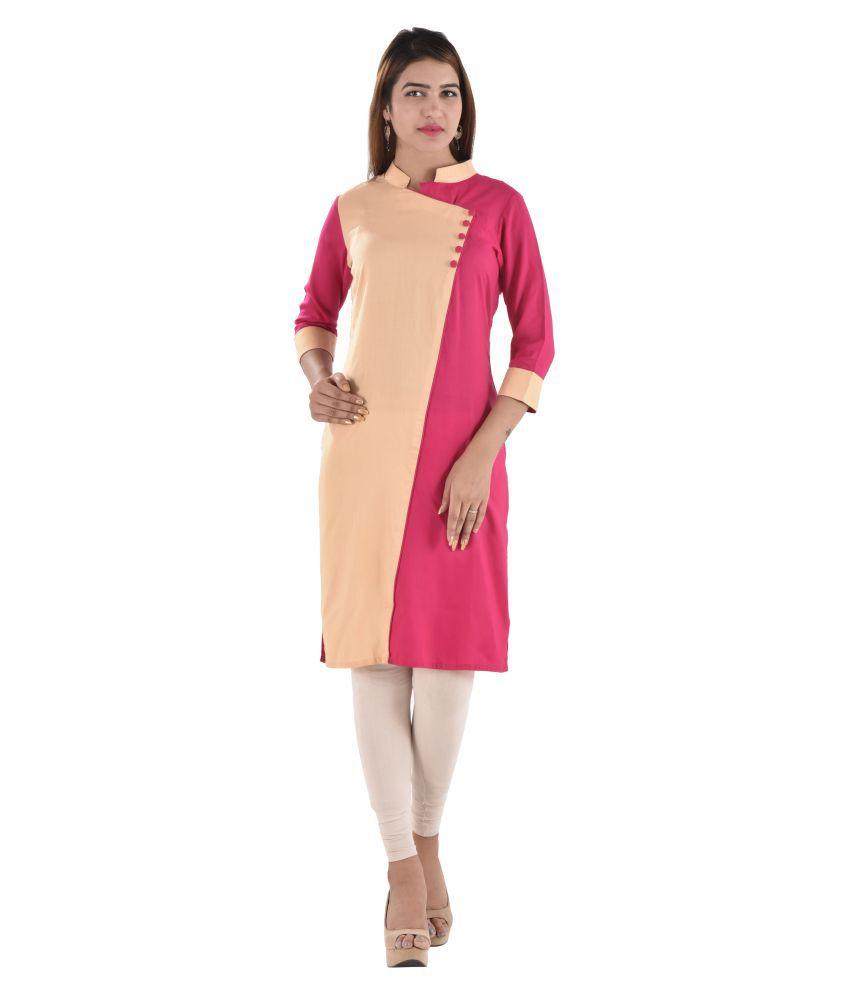 Bihangam Pink Rayon Angrakha Kurti