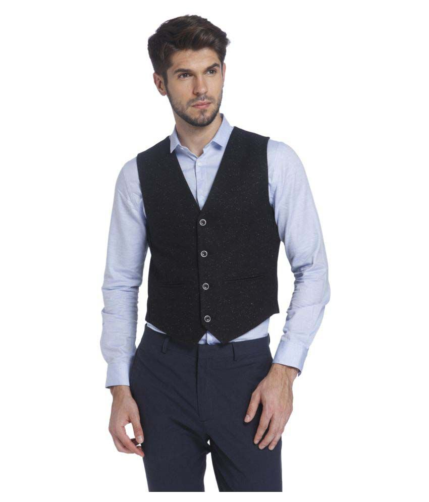 Jack & Jones Black Solid Casual Waistcoats