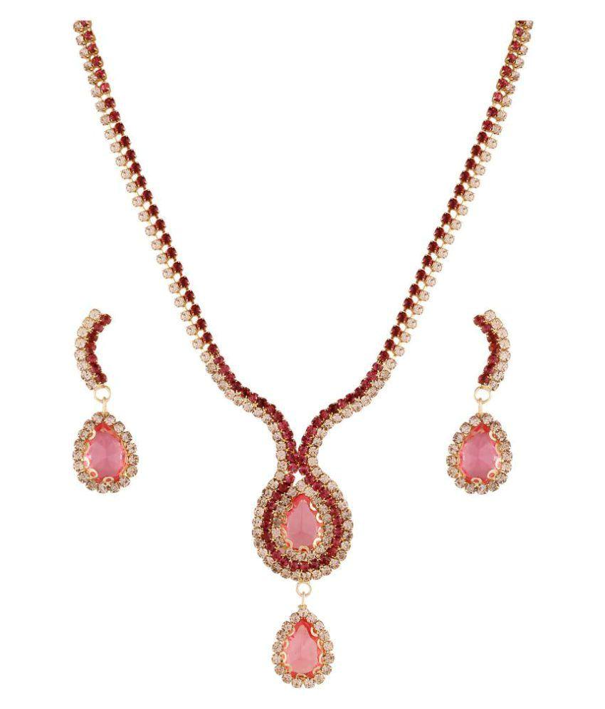 Utsavi Fashions Pink Alloy Necklaces Set
