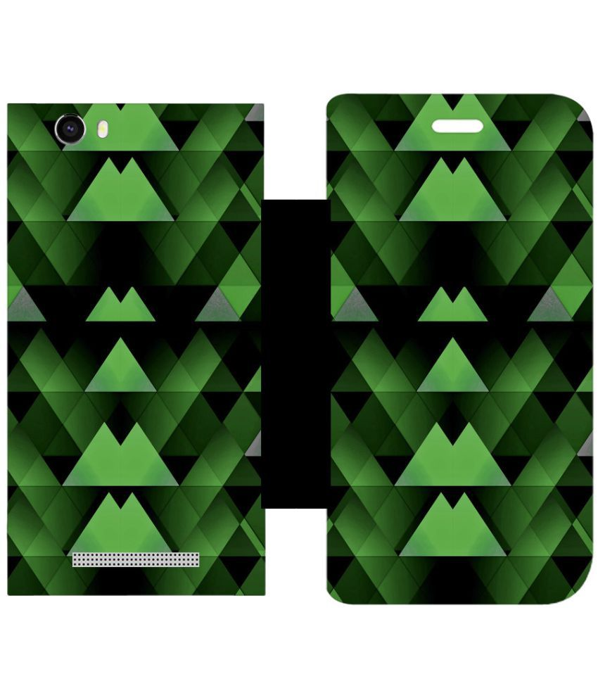 Lava A97 Flip Cover by Skintice - Green