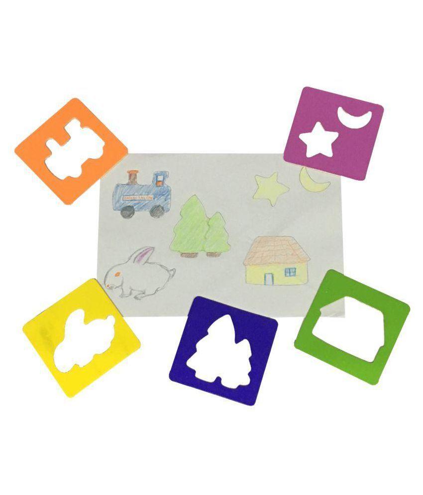 emob multicolor drawing stencils art set for kids
