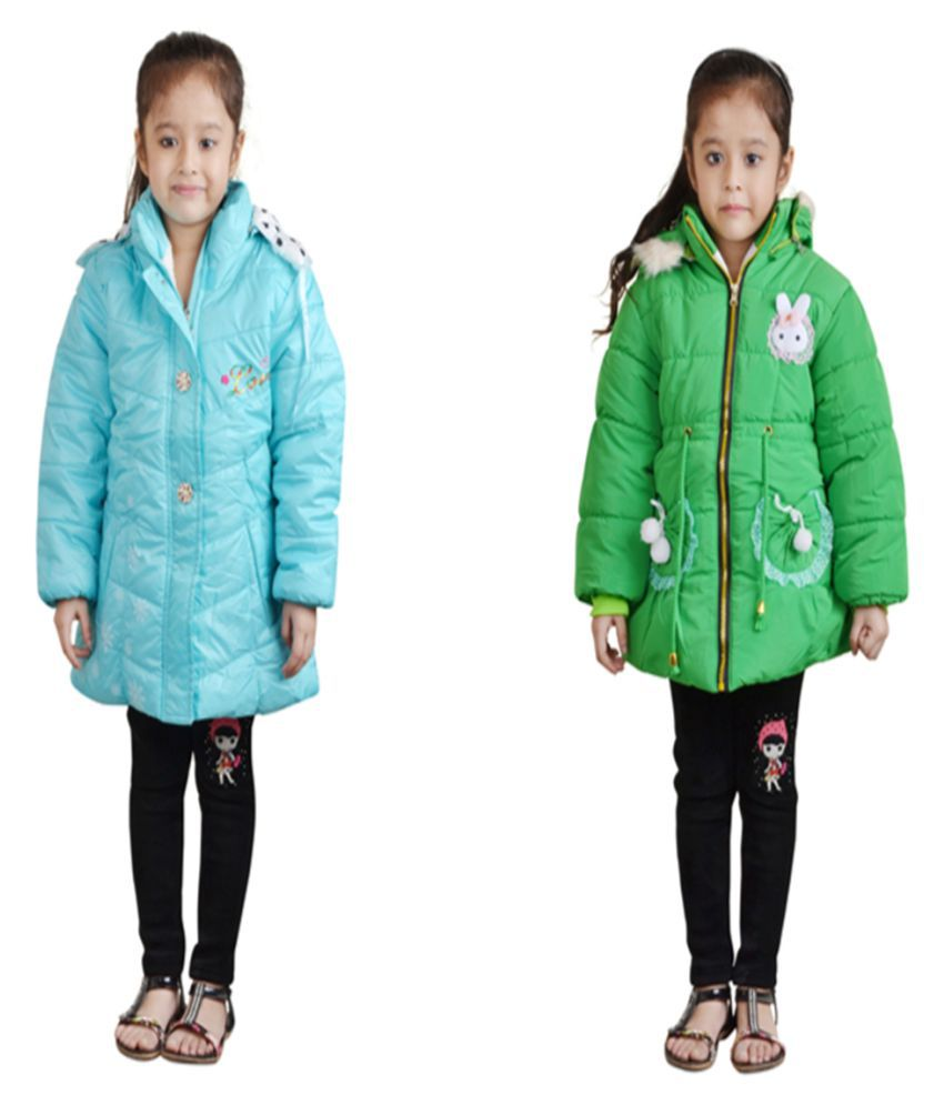 Qeboo Blue Full Sleeves Jackets For Girls Pack Of 2