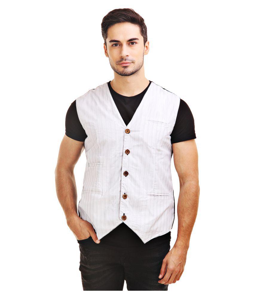 Chokore White Striped Casual Waistcoats