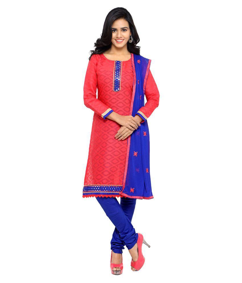 Kalish Red Jacquard Dress Material