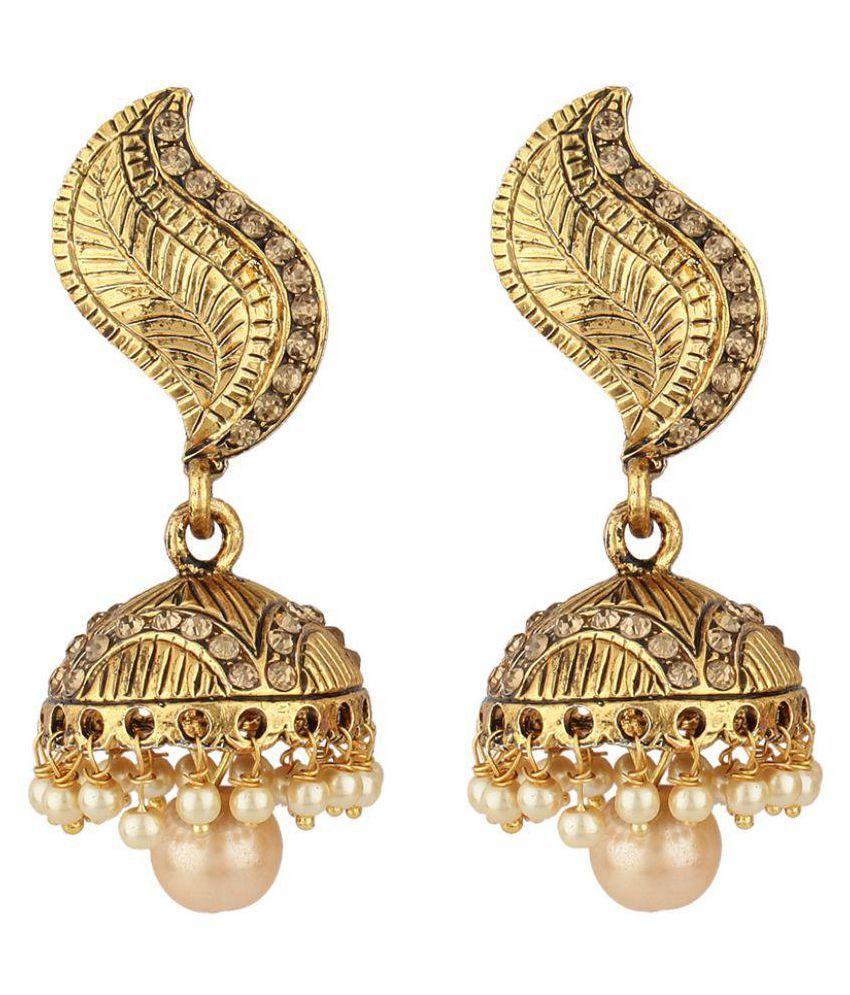 Jewels Guru Exclusive Golden Jhumki Earrings