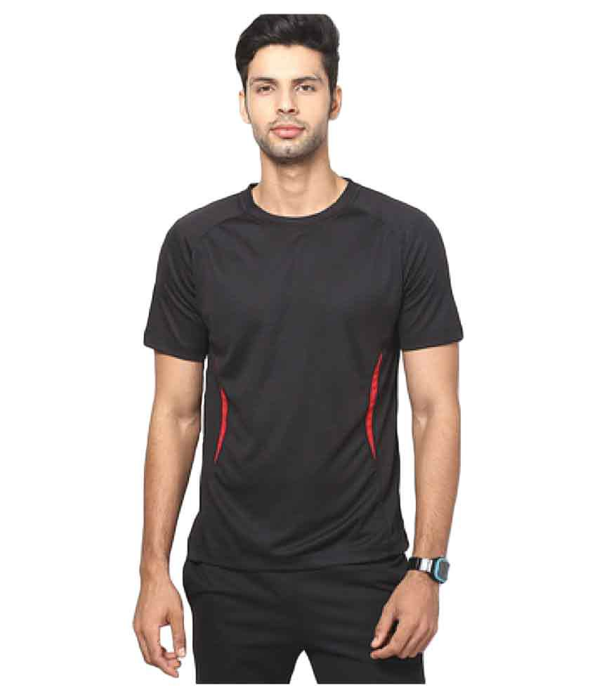 T10 Sports Black Cotton Lycra T-Shirt