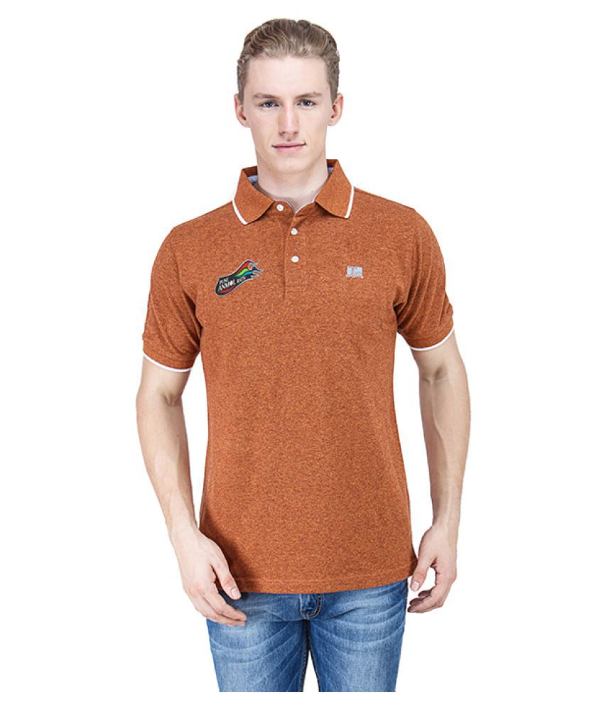 T10 Sports Orange Cotton Lycra Polo T-Shirt
