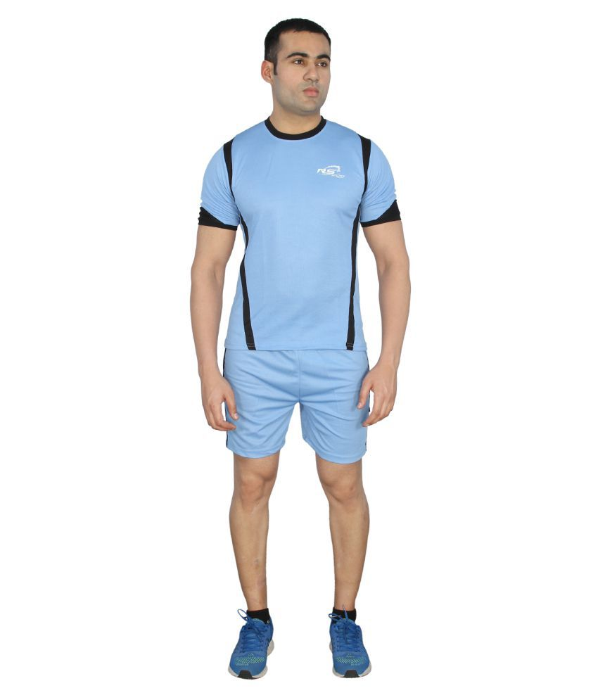 RS Sports Sea Blue Polyester Active Wear
