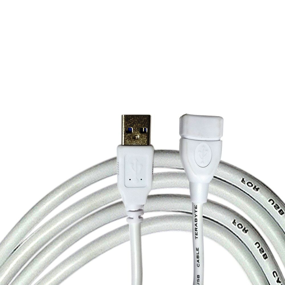 Terabyte Usb White Extension Cable   3 Mtr