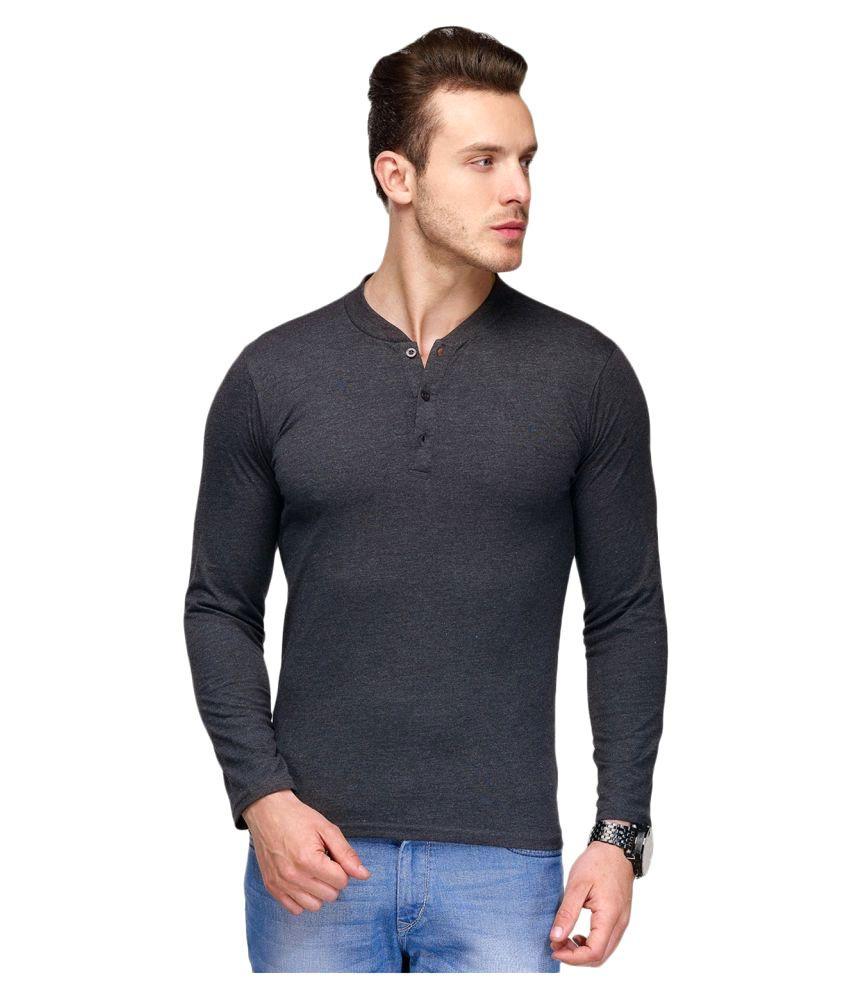Own Style Black Henley T-Shirt