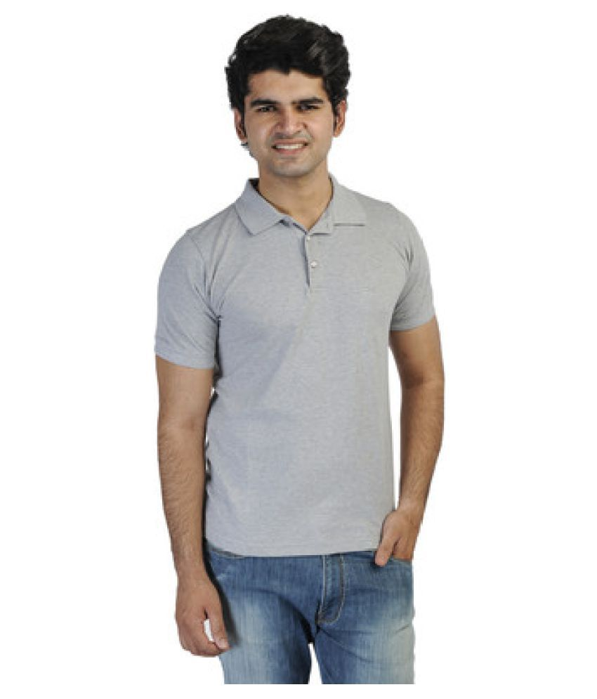 T10 Sports Grey Cotton Lycra Polo T-Shirt