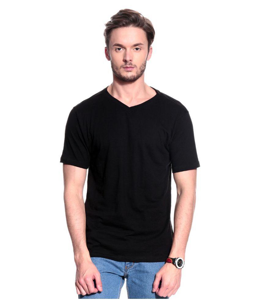 T10 Sports Black Cotton Lycra T-Shirt