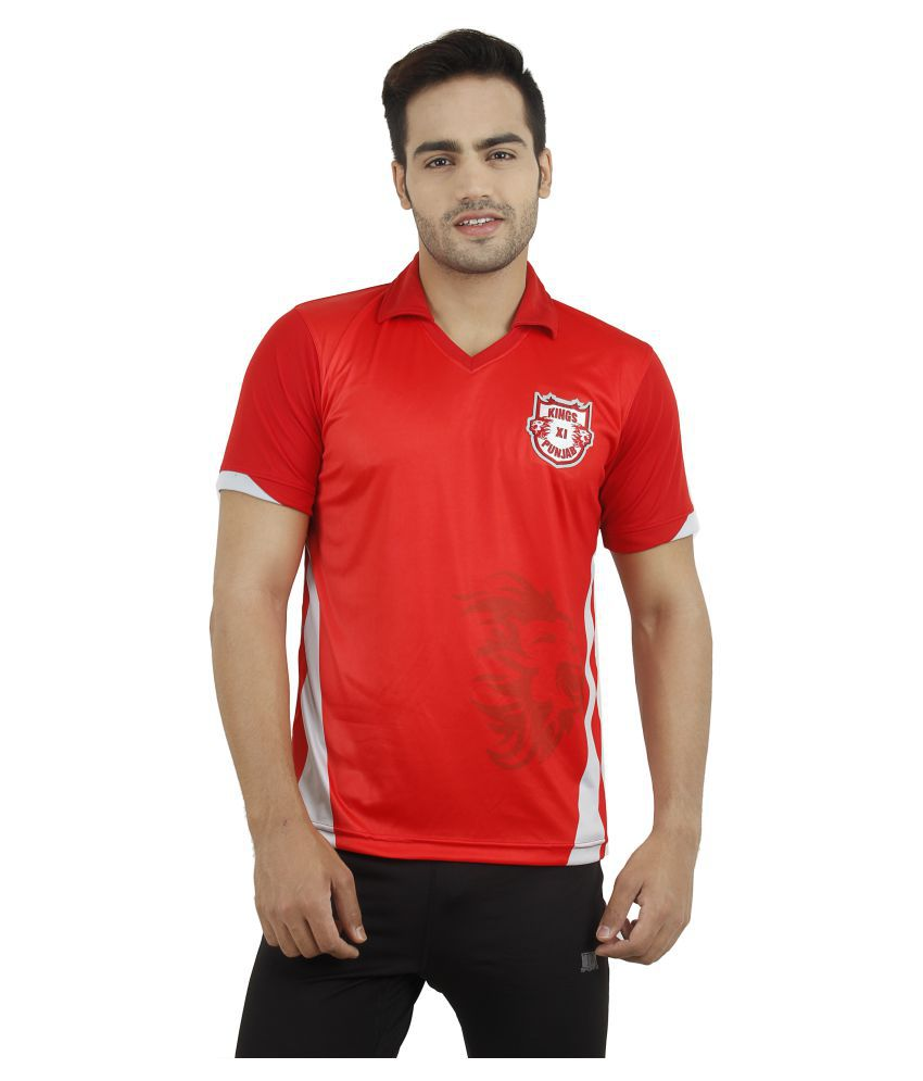 T10 Sports Red Cotton Lycra Polo T-Shirt