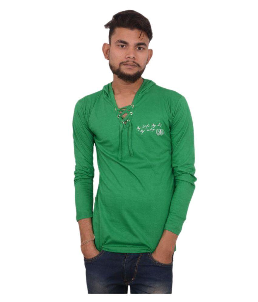 Hero & Piyush Green Hooded T-Shirt