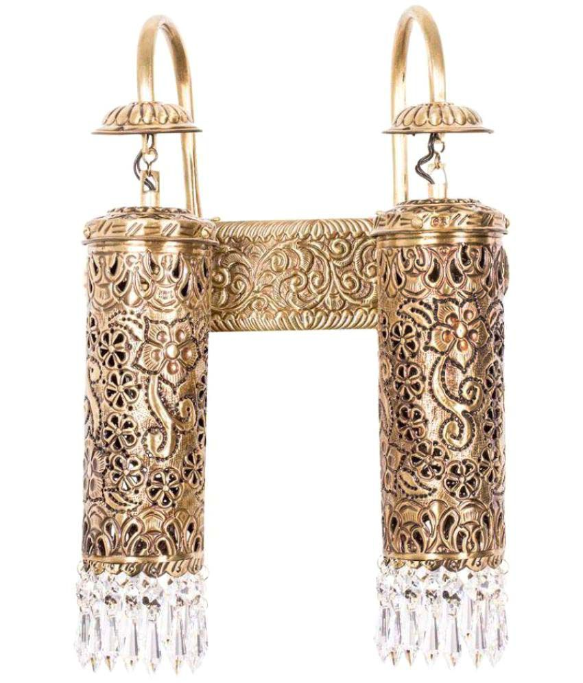 Fos Lighting Brass Wall Light Crystal Wall Light Gold