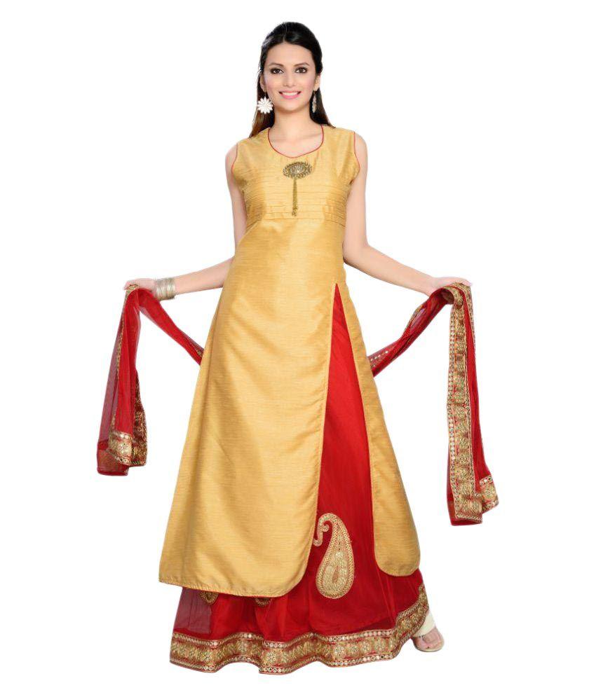 Krusha Art Gold Chanderi Straight Stitched Suit