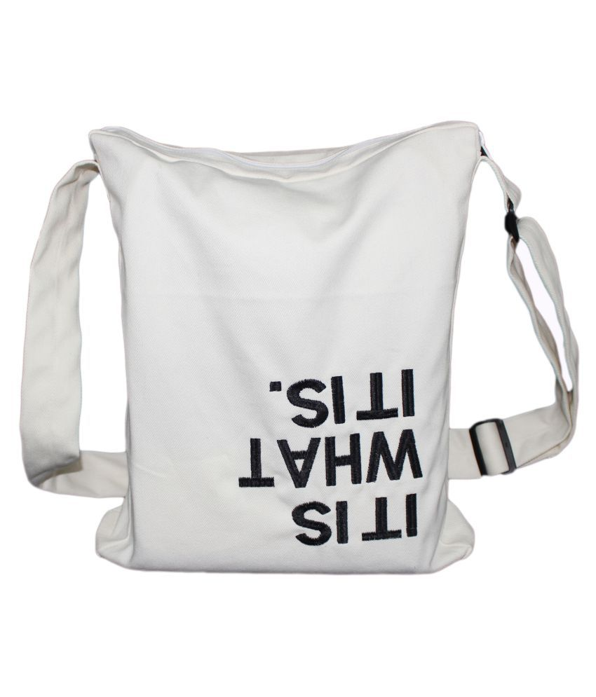 Ryan Overseas White Cotton Shoulder Bag
