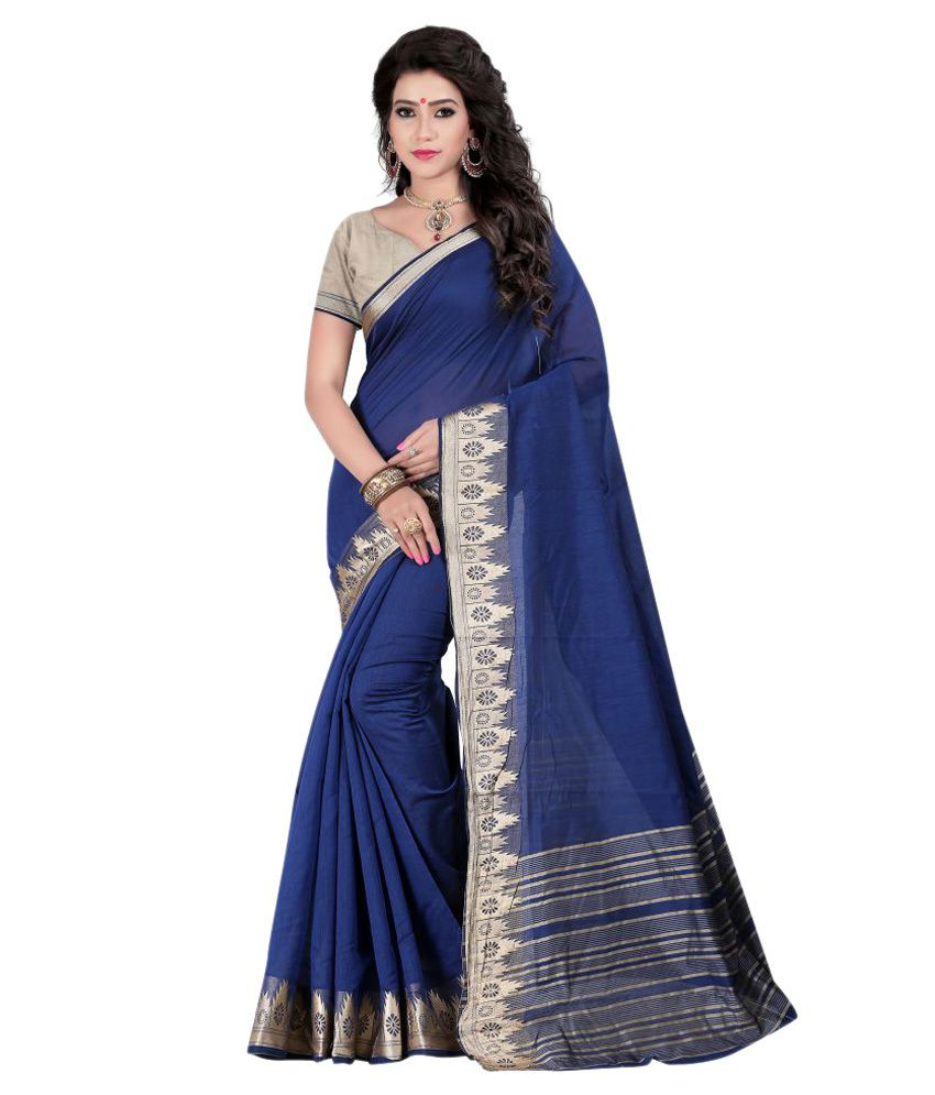 Just Fashion Blue Cotton Blend Saree