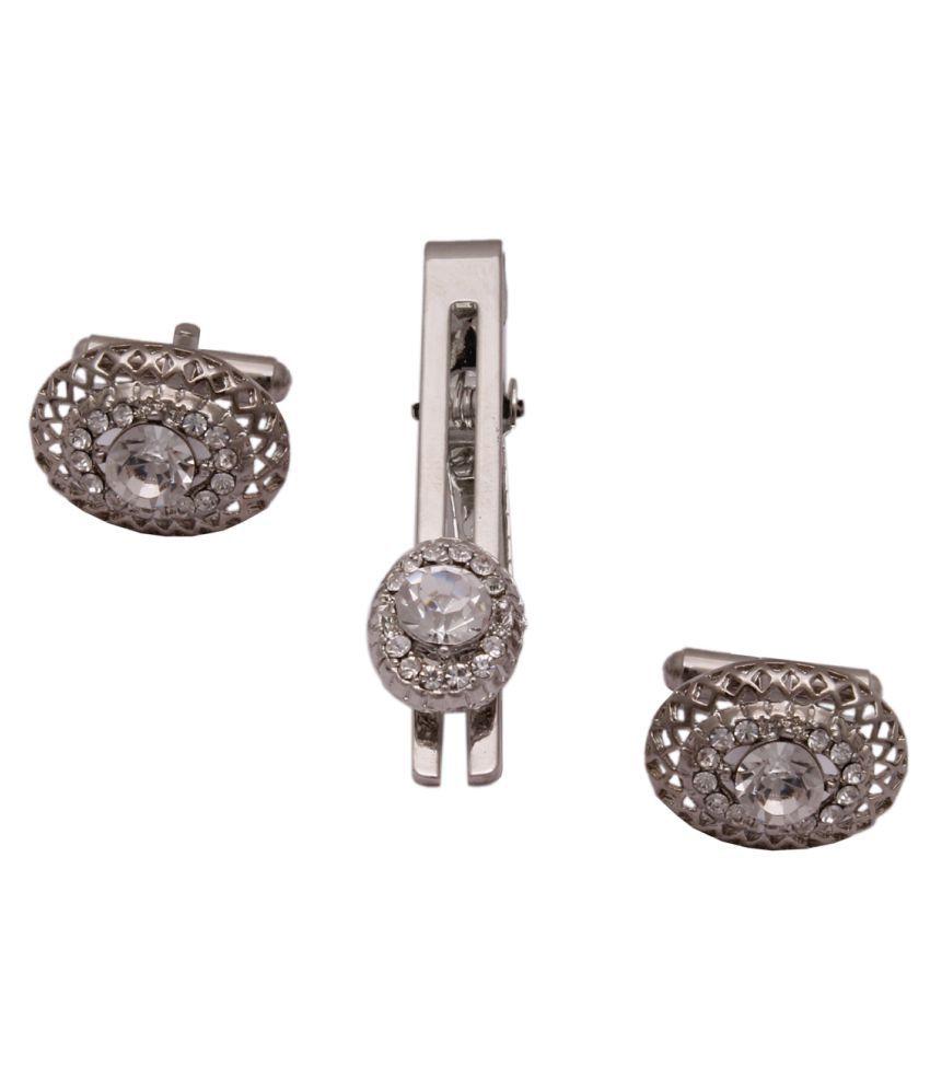 Sushito Attractive Design Stylish Silver Cufflink with Tie Pin