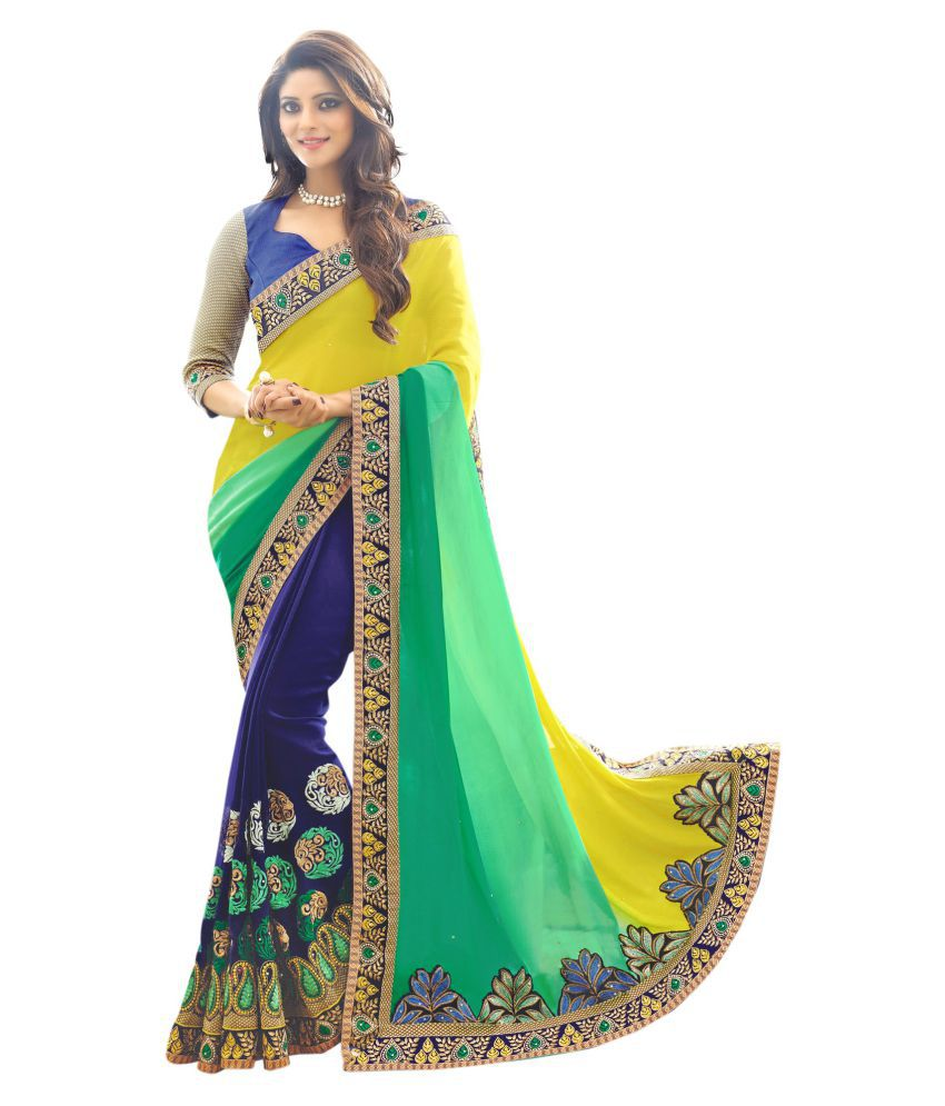 Elevate Women Green and Blue Georgette Saree