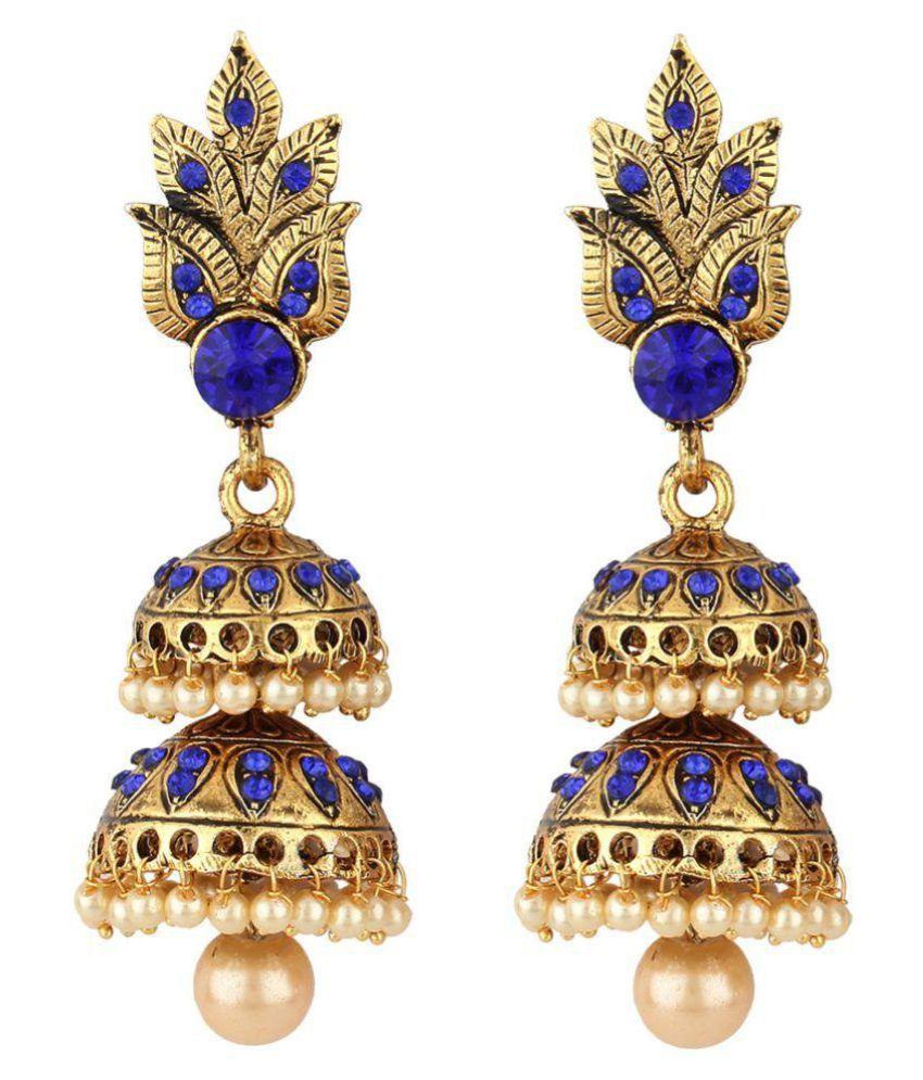 Jewels Guru Exclusive Blue Jhumki Earrings