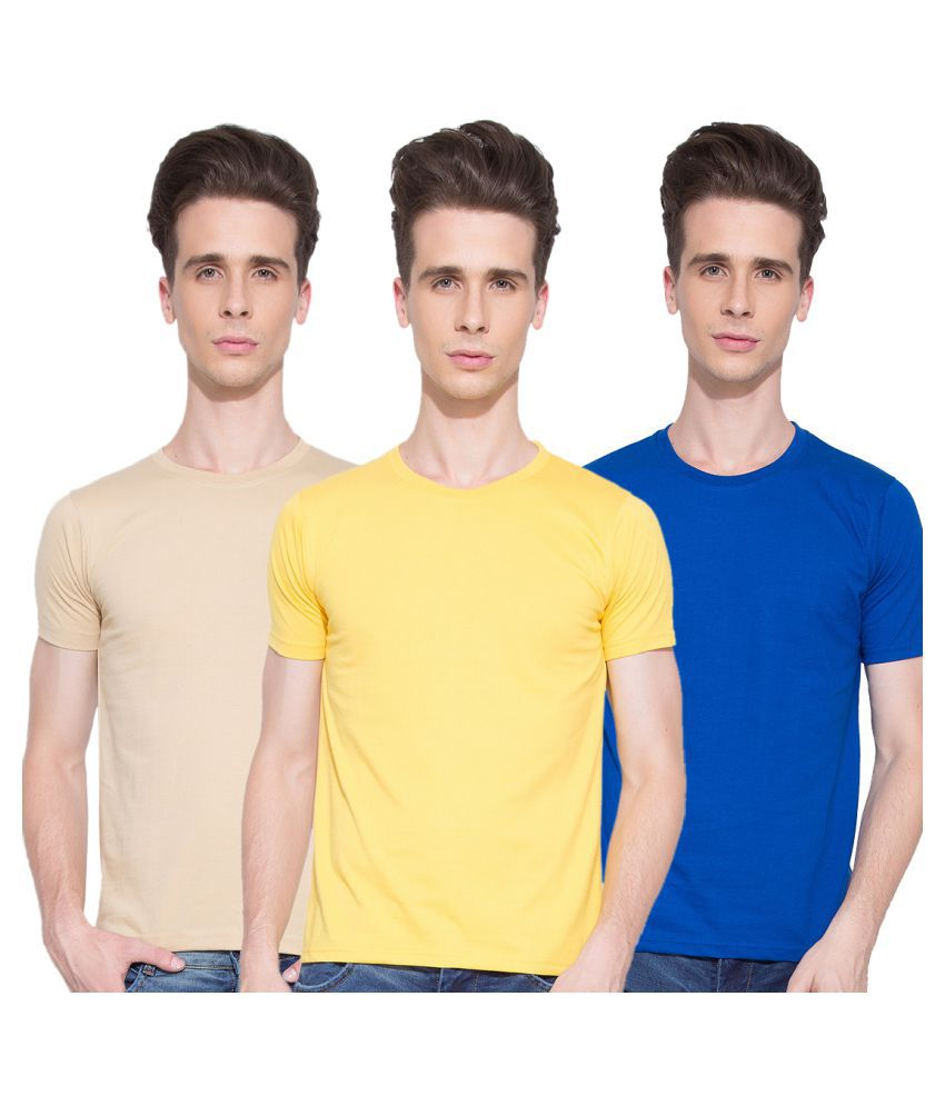 Go India Store Multi Round T-Shirt Pack of 3