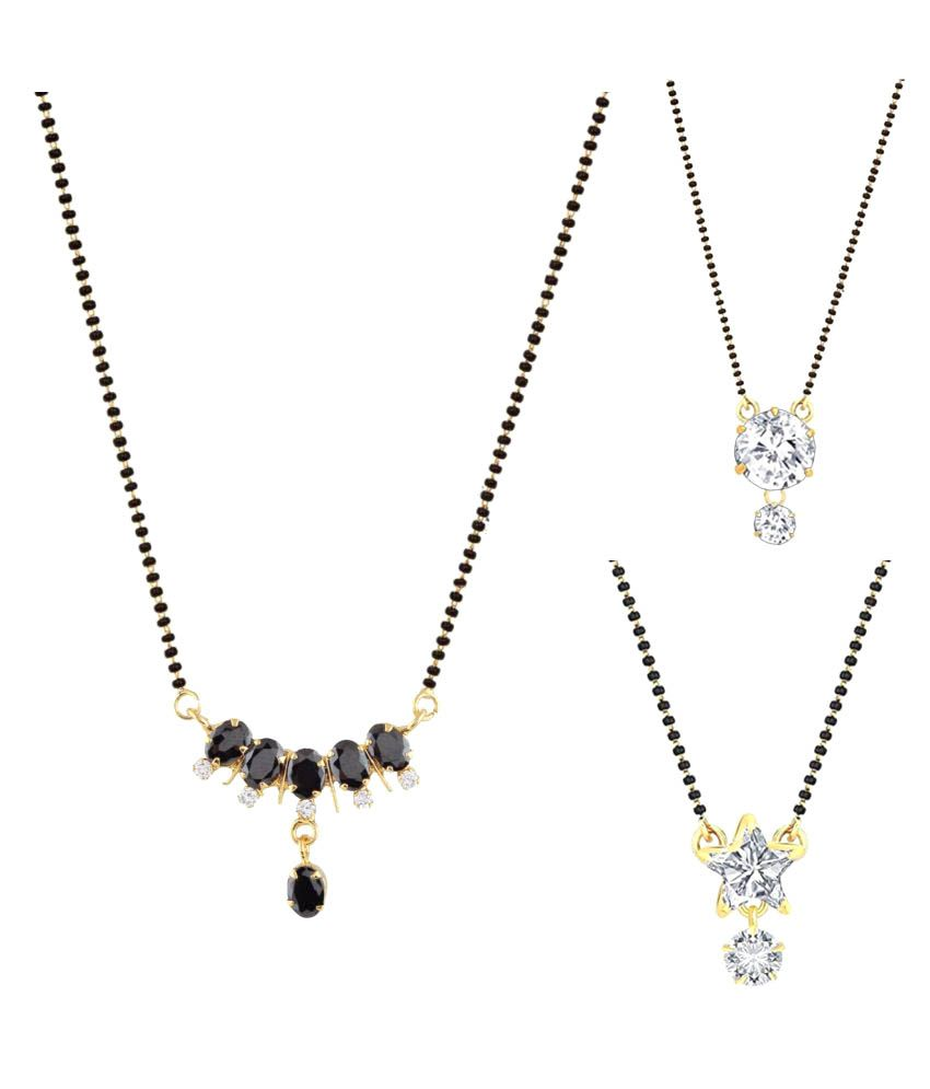 Parinaaz Multicolored Alloy Mangalsutra Combo - Pack of 3