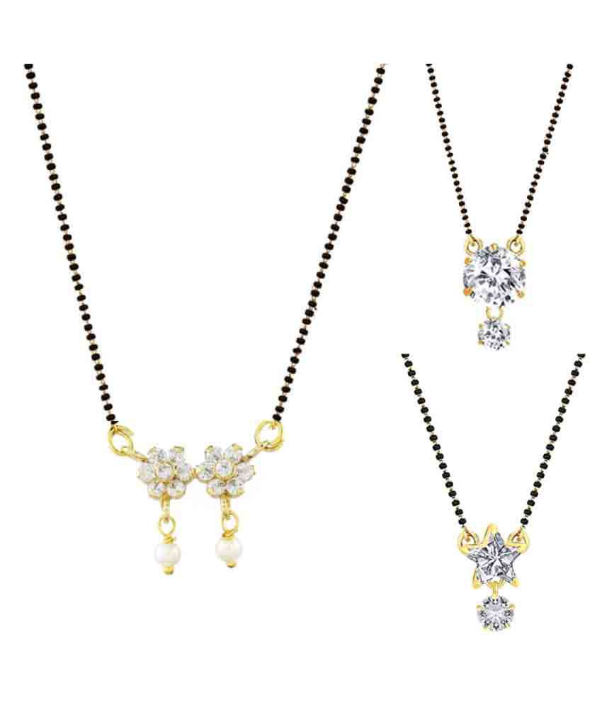 Parinaaz White Mangalsutra - Pack of 3