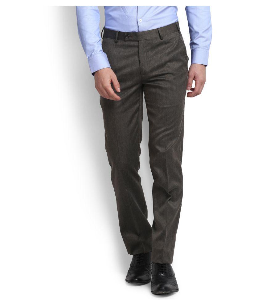 Park Avenue Dark Brown Slim Flat Trousers