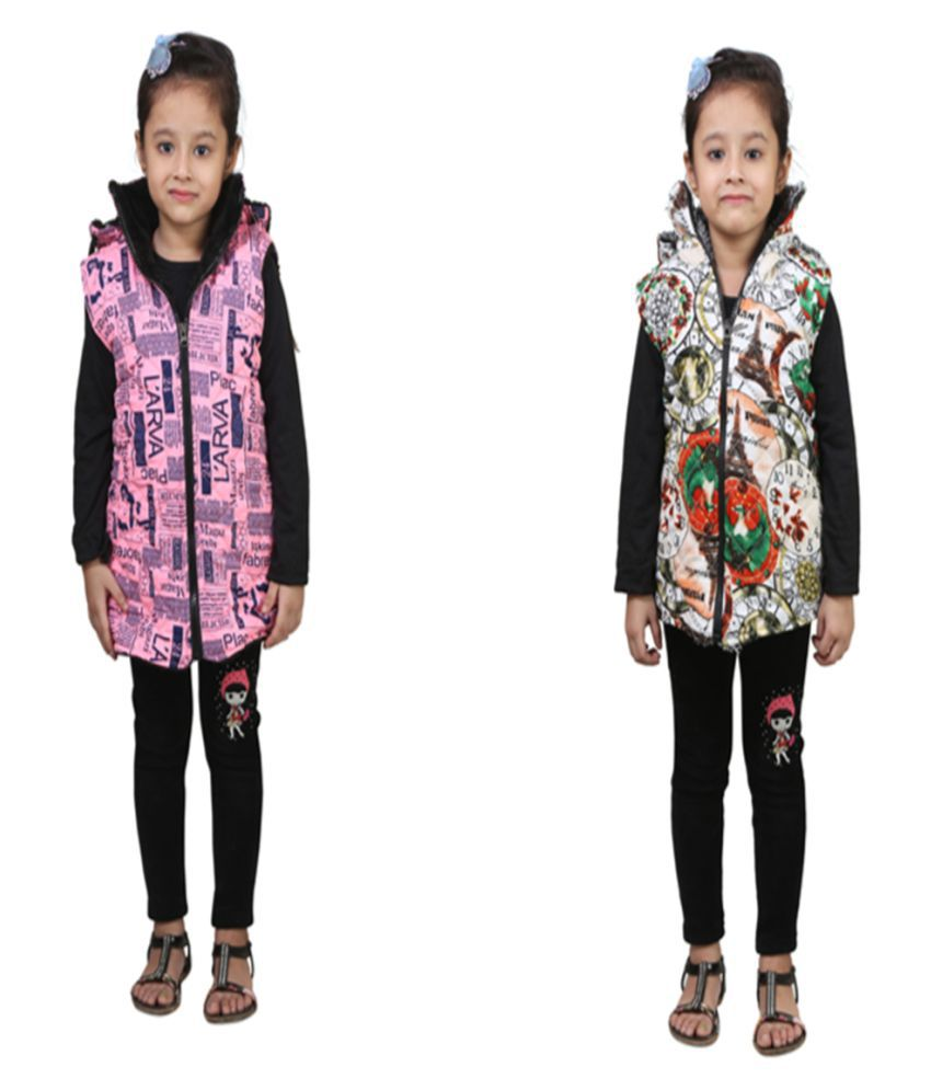 Crazies Multicolour Light Weight Jacket for Girl's Pack of 2