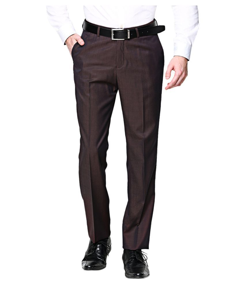BLACKBERRYS Maroon Slim Flat Trousers