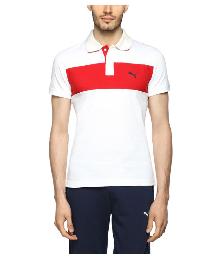 Puma White Cotton Polo T-Shirt
