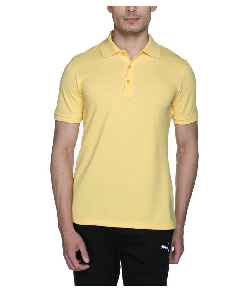 Puma Yellow Cotton Polo T-Shirt