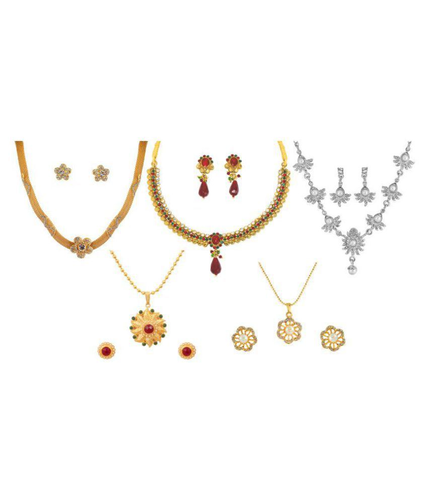 Touchstone Combo of Multicolour 3 Necklace Set and 2 Pendant Set