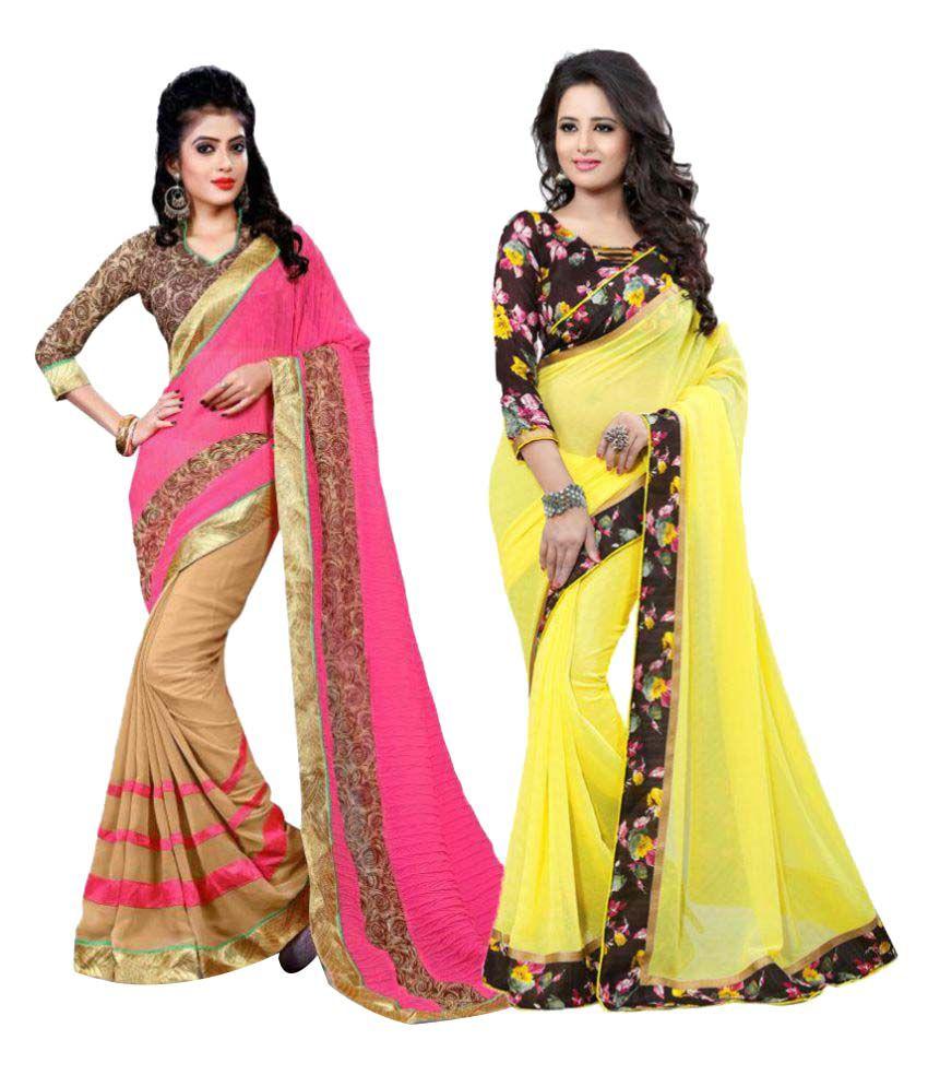 Sanchi Multicoloured Georgette Saree Combos