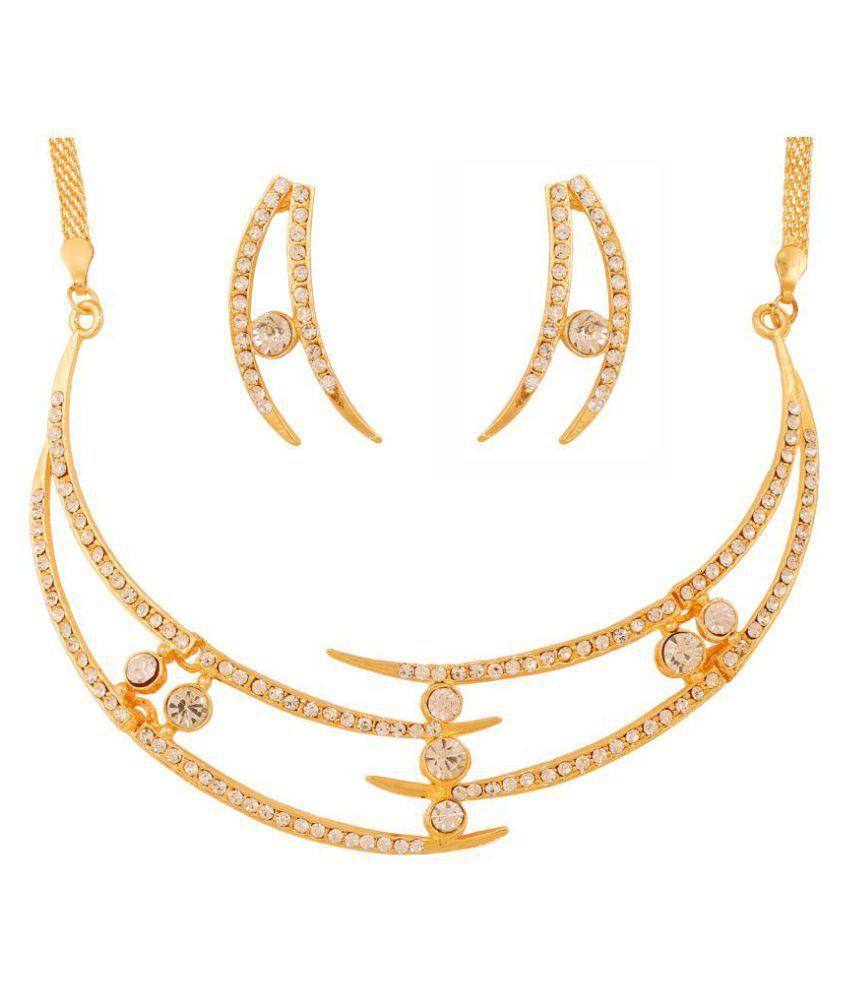 Touchstone Golden Alloy Contemporary Necklace Set