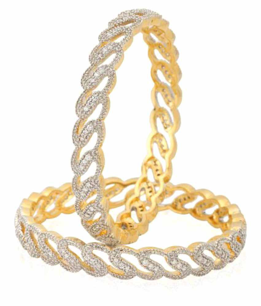 Jewels Gehna Studding Diamond Multi Designer Bangles Set (Pack of 2)
