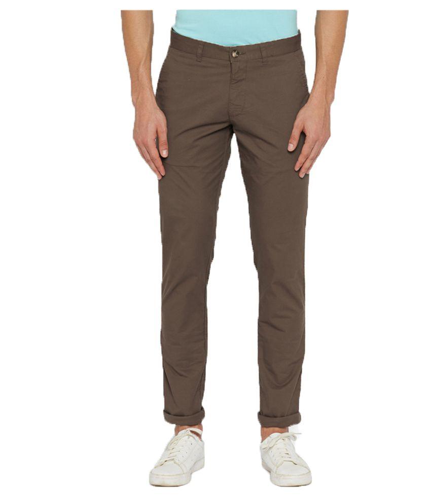 Parx Brown Regular Flat Trousers