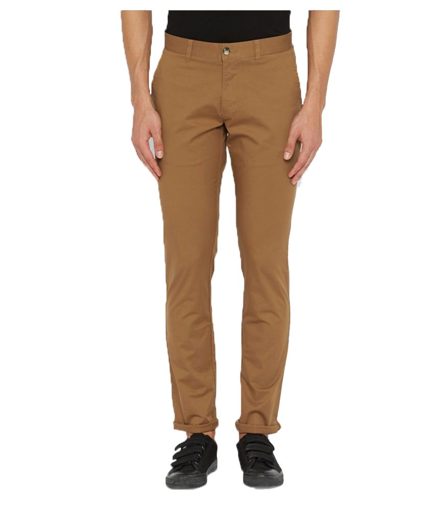 Parx Brown Regular Flat Trousers