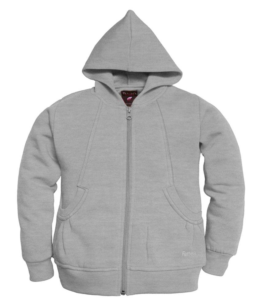 Femea Gray Solid  Hooded Sweatshirt